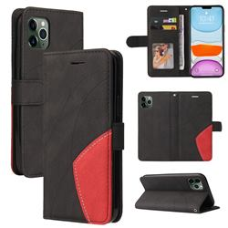 Luxury Two-color Stitching Leather Wallet Case Cover for iPhone 11 Pro (5.8 inch) - Black
