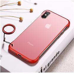 Transparent Matte Non-Slip Anti-Scratch no Fingerprint Bare Metal Sense Case for iPhone XS Max (6.5 inch) - Red