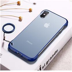 Transparent Matte Non-Slip Anti-Scratch no Fingerprint Bare Metal Sense Case for iPhone XS Max (6.5 inch) - Blue
