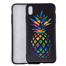Colorful Pineapple 3D Embossed Relief Black Soft Back Cover for iPhone XS Max (6.5 inch)