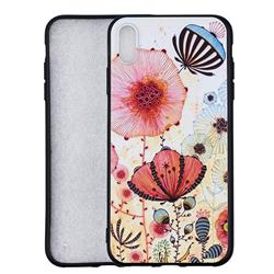 Pink Flower 3D Embossed Relief Black Soft Back Cover for iPhone XS Max (6.5 inch)
