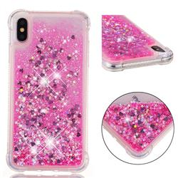 Dynamic Liquid Glitter Sand Quicksand TPU Case for iPhone XS Max (6.5 inch) - Pink Love Heart