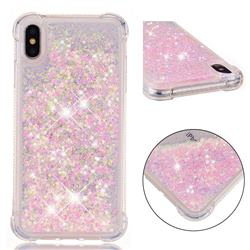 Dynamic Liquid Glitter Sand Quicksand TPU Case for iPhone XS Max (6.5 inch) - Silver Powder Star