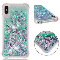 Dynamic Liquid Glitter Sand Quicksand TPU Case for iPhone XS Max (6.5 inch) - Green Love Heart