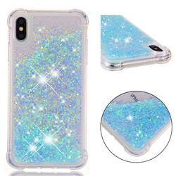 Dynamic Liquid Glitter Sand Quicksand TPU Case for iPhone XS Max (6.5 inch) - Silver Blue Star