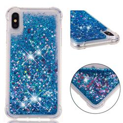 Dynamic Liquid Glitter Sand Quicksand TPU Case for iPhone XS Max (6.5 inch) - Blue Love Heart