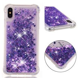 Dynamic Liquid Glitter Sand Quicksand Star TPU Case for iPhone XS Max (6.5 inch) - Purple