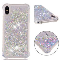 Dynamic Liquid Glitter Sand Quicksand Star TPU Case for iPhone XS Max (6.5 inch) - Silver