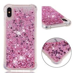 Dynamic Liquid Glitter Sand Quicksand Star TPU Case for iPhone XS Max (6.5 inch) - Diamond Rose