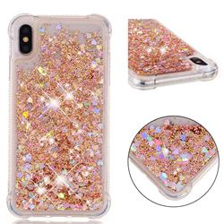 Dynamic Liquid Glitter Sand Quicksand Star TPU Case for iPhone XS Max (6.5 inch) - Diamond Gold