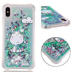 Tiny Unicorn Dynamic Liquid Glitter Sand Quicksand Star TPU Case for iPhone XS Max (6.5 inch)