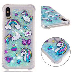 Fashion Unicorn Dynamic Liquid Glitter Sand Quicksand Star TPU Case for iPhone XS Max (6.5 inch)