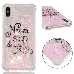 Never Stop Dreaming Dynamic Liquid Glitter Sand Quicksand Star TPU Case for iPhone XS Max (6.5 inch)