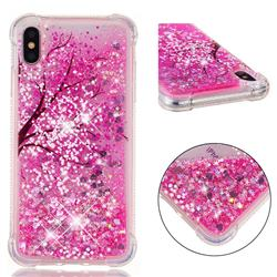 Pink Cherry Blossom Dynamic Liquid Glitter Sand Quicksand Star TPU Case for iPhone XS Max (6.5 inch)