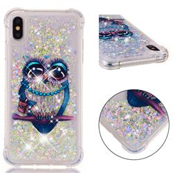 Sweet Gray Owl Dynamic Liquid Glitter Sand Quicksand Star TPU Case for iPhone XS Max (6.5 inch)