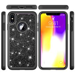Glitter Rhinestone Bling Shock Absorbing Hybrid Defender Rugged Phone Case Cover for iPhone XS Max (6.5 inch) - Black