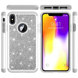 Glitter Rhinestone Bling Shock Absorbing Hybrid Defender Rugged Phone Case Cover for iPhone XS Max (6.5 inch) - Gray