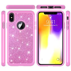Glitter Rhinestone Bling Shock Absorbing Hybrid Defender Rugged Phone Case Cover for iPhone XS Max (6.5 inch) - Pink