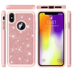 Glitter Rhinestone Bling Shock Absorbing Hybrid Defender Rugged Phone Case Cover for iPhone XS Max (6.5 inch) - Rose Gold