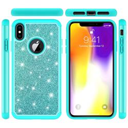 Glitter Rhinestone Bling Shock Absorbing Hybrid Defender Rugged Phone Case Cover for iPhone XS Max (6.5 inch) - Green