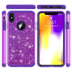 Glitter Rhinestone Bling Shock Absorbing Hybrid Defender Rugged Phone Case Cover for iPhone XS Max (6.5 inch) - Purple