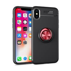 Auto Focus Invisible Ring Holder Soft Phone Case for iPhone XS Max (6.5 inch) - Black Red
