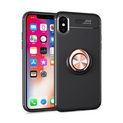 Auto Focus Invisible Ring Holder Soft Phone Case for iPhone XS Max (6.5 inch) - Black Gold