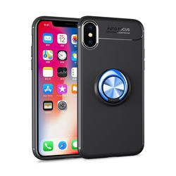 Auto Focus Invisible Ring Holder Soft Phone Case for iPhone XS Max (6.5 inch) - Black Blue