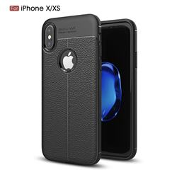 Luxury Auto Focus Litchi Texture Silicone TPU Back Cover for iPhone XS Max (6.5 inch) - Black