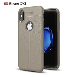 Luxury Auto Focus Litchi Texture Silicone TPU Back Cover for iPhone XS Max (6.5 inch) - Gray