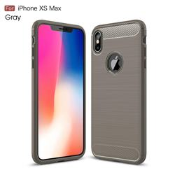 Luxury Carbon Fiber Brushed Wire Drawing Silicone TPU Back Cover for iPhone XS Max (6.5 inch) - Gray