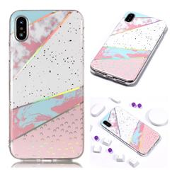 Matching Color Marble Pattern Bright Color Laser Soft TPU Case for iPhone XS Max (6.5 inch)