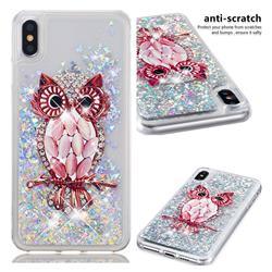 Seashell Owl Dynamic Liquid Glitter Quicksand Soft TPU Case for iPhone XS Max (6.5 inch)