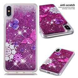 Purple Flower Butterfly Dynamic Liquid Glitter Quicksand Soft TPU Case for iPhone XS Max (6.5 inch)