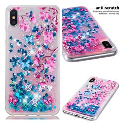 Blue Plum Blossom Dynamic Liquid Glitter Quicksand Soft TPU Case for iPhone XS Max (6.5 inch)