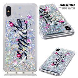 Smile Flower Dynamic Liquid Glitter Quicksand Soft TPU Case for iPhone XS Max (6.5 inch)