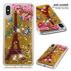 Golden Tower Dynamic Liquid Glitter Quicksand Soft TPU Case for iPhone XS Max (6.5 inch)