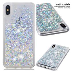 Dynamic Liquid Glitter Quicksand Sequins TPU Phone Case for iPhone XS Max (6.5 inch) - Silver