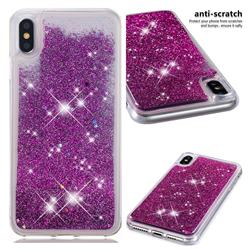 Dynamic Liquid Glitter Quicksand Sequins TPU Phone Case for iPhone XS Max (6.5 inch) - Purple