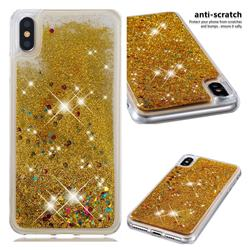 Dynamic Liquid Glitter Quicksand Sequins TPU Phone Case for iPhone XS Max (6.5 inch) - Golden