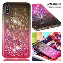 Diamond Frame Liquid Glitter Quicksand Sequins Phone Case for iPhone XS Max (6.5 inch) - Gray Pink