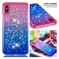 Diamond Frame Liquid Glitter Quicksand Sequins Phone Case for iPhone XS Max (6.5 inch) - Pink Blue