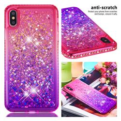 Diamond Frame Liquid Glitter Quicksand Sequins Phone Case for iPhone XS Max (6.5 inch) - Pink Purple