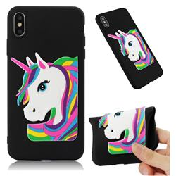 Rainbow Unicorn Soft 3D Silicone Case for iPhone XS Max (6.5 inch) - Black