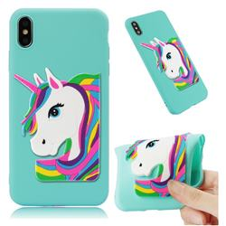 Rainbow Unicorn Soft 3D Silicone Case for iPhone XS Max (6.5 inch) - Sky Blue