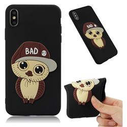 Bad Boy Owl Soft 3D Silicone Case for iPhone XS Max (6.5 inch) - Black