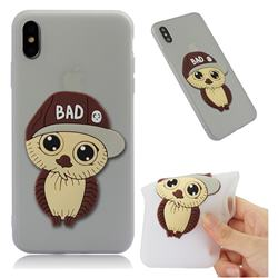 Bad Boy Owl Soft 3D Silicone Case for iPhone XS Max (6.5 inch) - Translucent White