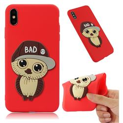 Bad Boy Owl Soft 3D Silicone Case for iPhone XS Max (6.5 inch) - Red