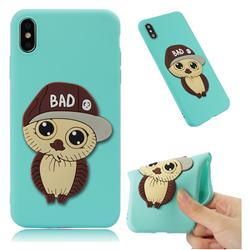 Bad Boy Owl Soft 3D Silicone Case for iPhone XS Max (6.5 inch) - Sky Blue
