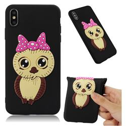 Bowknot Girl Owl Soft 3D Silicone Case for iPhone XS Max (6.5 inch) - Black